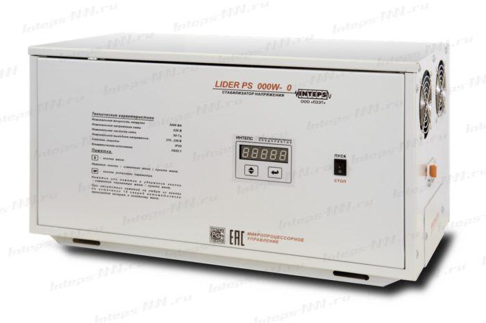 Однофазный стабилизатор напряжения Lider PS10000W-HOME-30
