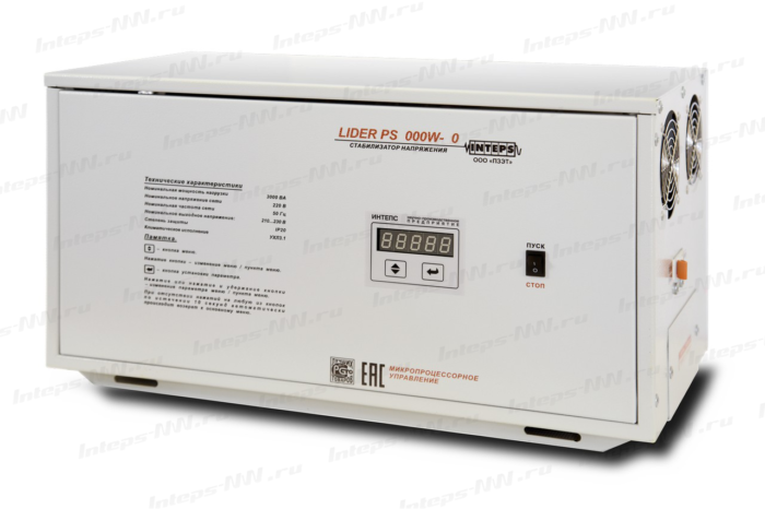 Однофазный стабилизатор напряжения Lider PS10000W-30